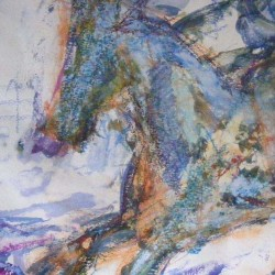 """Abstract horse study. Mixed media on paper. 12 X 16 inches in mount. <a href=""""https://www.fiknox.com//contact/"""" target=""""_self"""">For sale - £30</a>"""