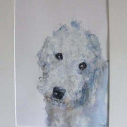 Bedlington terrier. Mixed media on paper. Private collection.