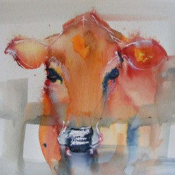 Cow. Watercolour. Private collection.