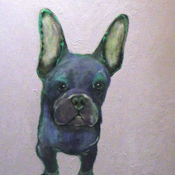 """Magic dog. Acrylic on deep box canvas. 8 X 22 inches. <a href=""""https://www.fiknox.com//contact/"""" target=""""_self"""">For sale - £75</a>"""