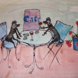 Poodles at the cafe. Ink and wash. Private collection.