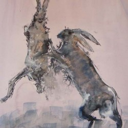 Boxing hares 1. Ink and wash on paper. Private collection.