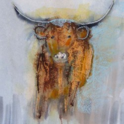 "Highland bull. Mixed media on paper. <a href=""https://www.fiknox.com//contact/"" target=""_self"">For sale - £35</a>"