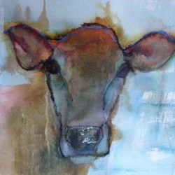 Cow. Mixed media on paper. Private collection.