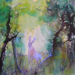 Enchanted forest with hare. Ink and watercolour on paper. Private collection.
