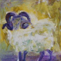 "Rare breed ram. Acrylic on canvas. <a href=""https://www.fiknox.com//contact/"" target=""_self"">For sale - £45</a>"
